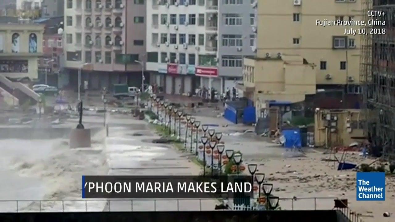 Typhoon Maria Brings Huge Waves, Damaging Winds to China