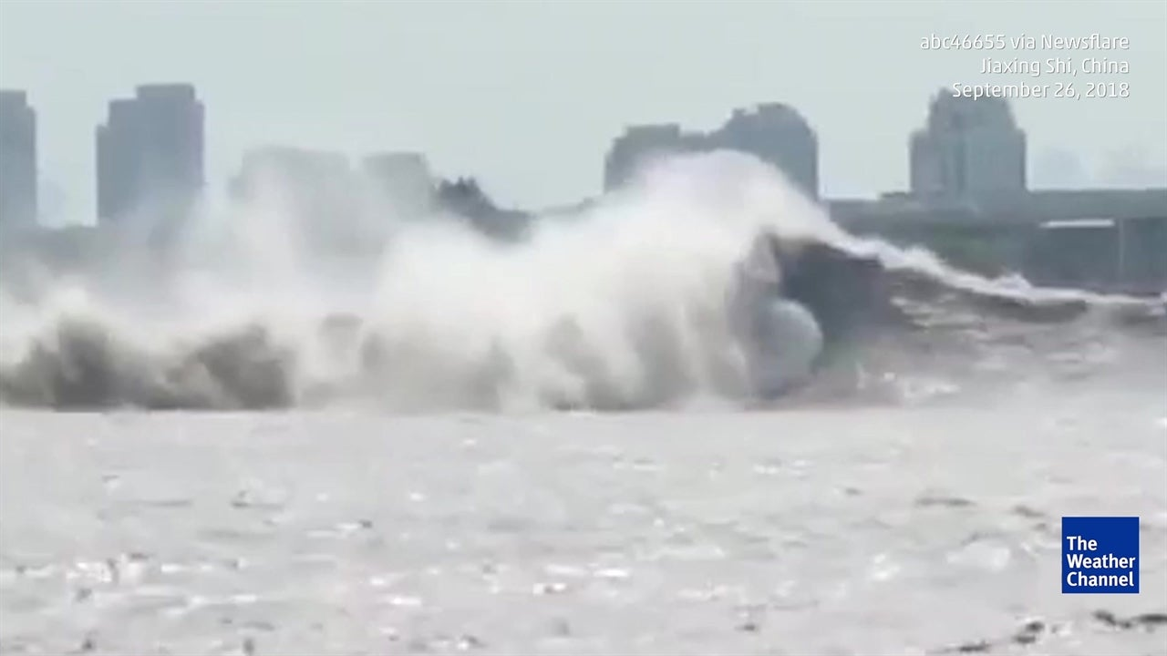 Incredible footage captures tidal wave phenomenon on river