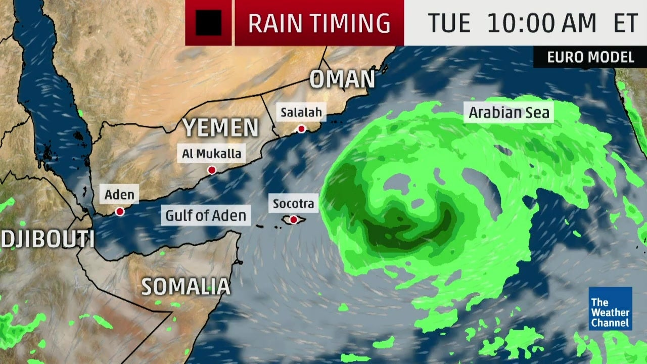 Tropical Cyclone in the Arabian Sea Aiming at Yemen