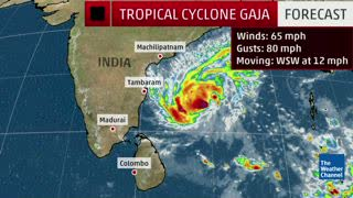 Tropical Cyclone Gaja's Outer Bands Start Impacting India