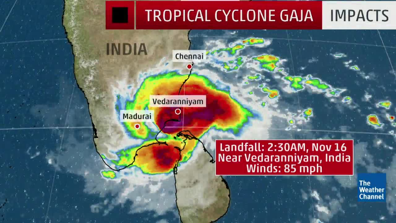 Deadly Tropical Cyclone Gaja Slams India