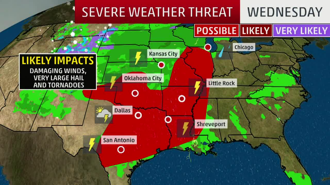 Weather Map Texas Severe Storms, Flooding in the Forecast Today for Texas, Southern