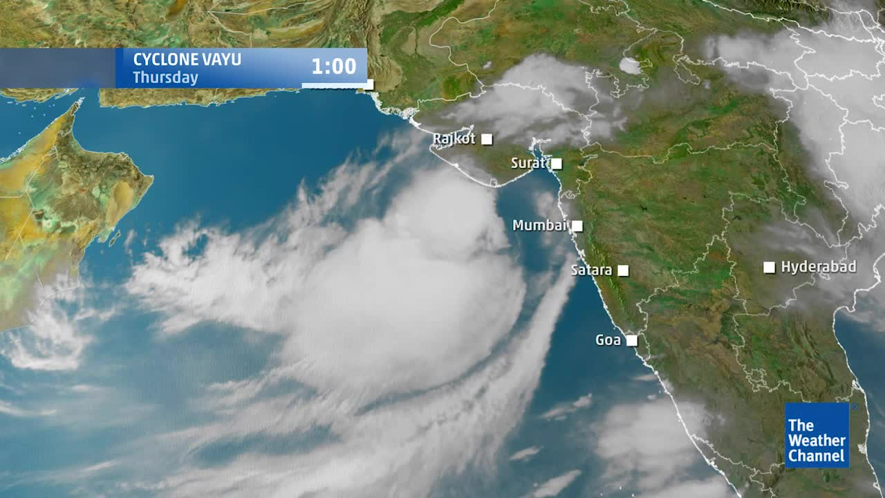 india satellite weather map today Satellite View And Forecast For Cyclone Vayu Videos From The india satellite weather map today