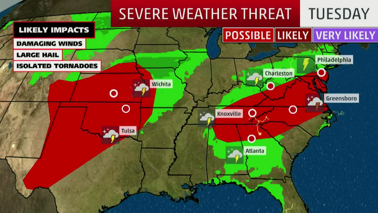 Flooding Rain, Severe Storms Expected From Plains to Ohio Valley