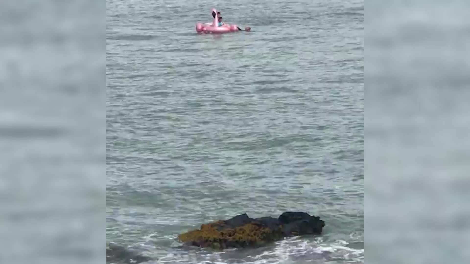 Good Samaritans saved two girls from a runaway raft off the coast of Dublin. The whole thing is a harrowing reminder of why those giant inflatables are best left off the beach.