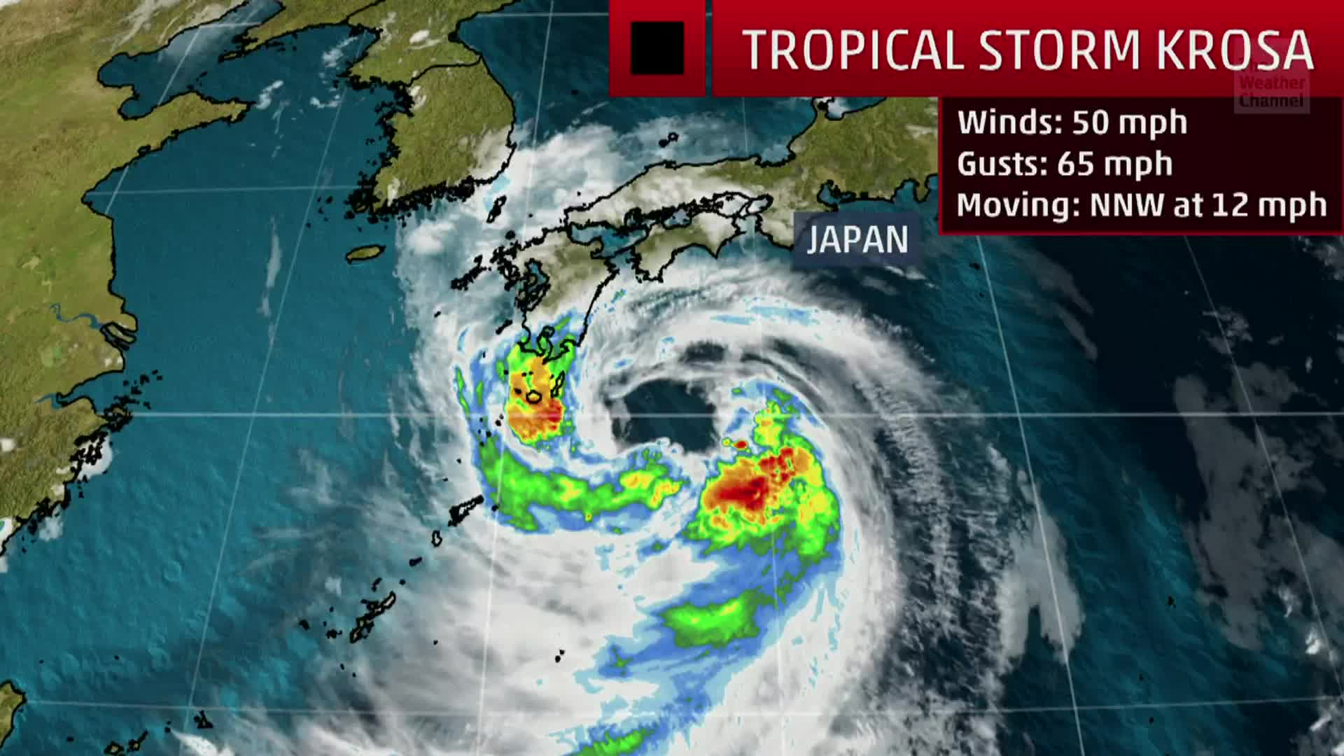 Forecast for Tropical Storm Krosa which is close to making landfall on Japan.