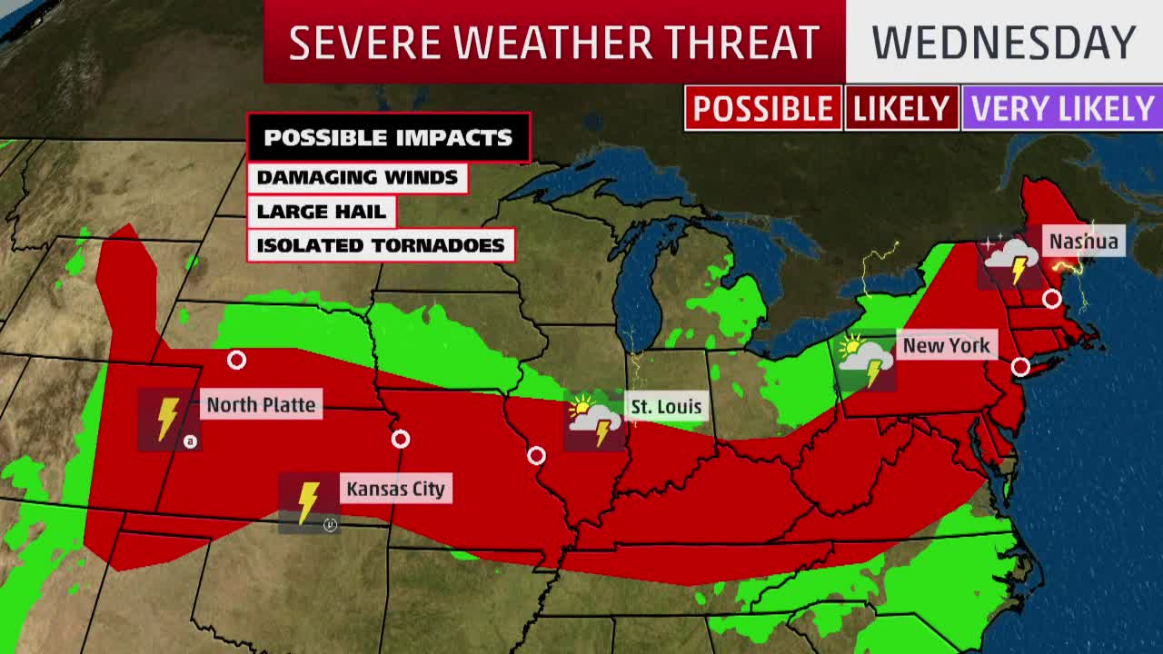 Midwest to Northeast Face Severe Weather Threats into Wednesday