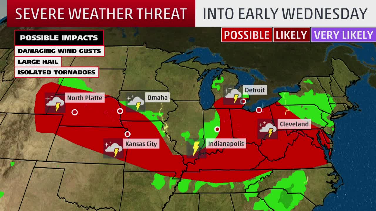 Plains to Northeast Face Severe Weather Threats Through Wednesday