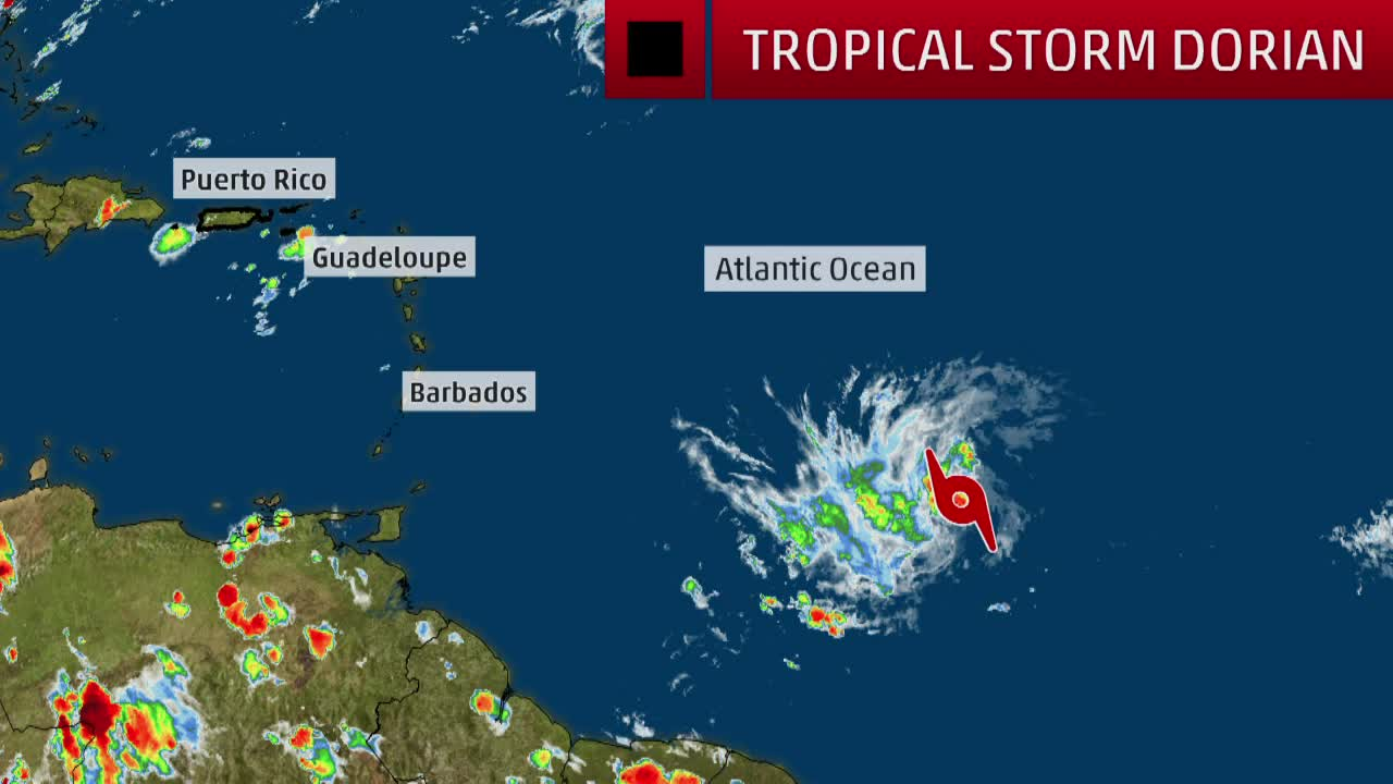 Newly Formed Dorian Strengthens in Tropics