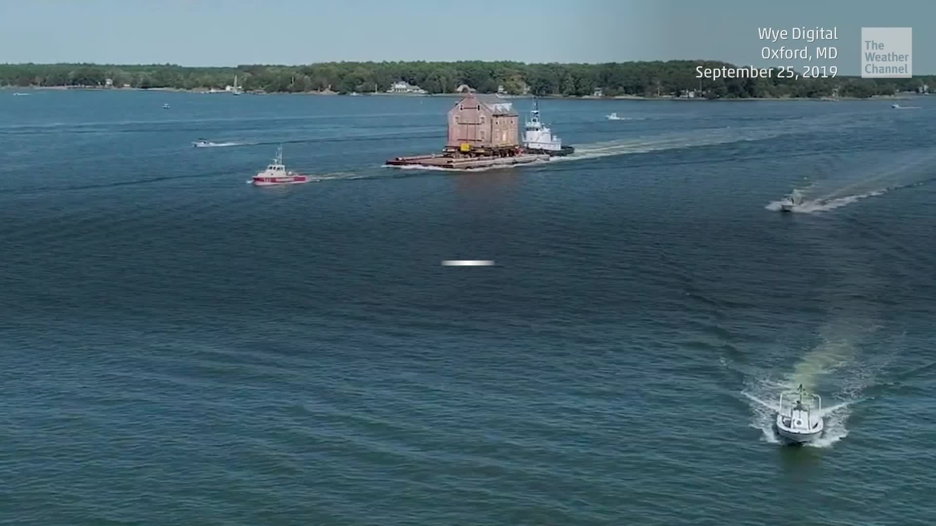 A strange sight was spotted along Maryland's eastern shore as a historic home was moved across the water at the Chesapeake Bay.