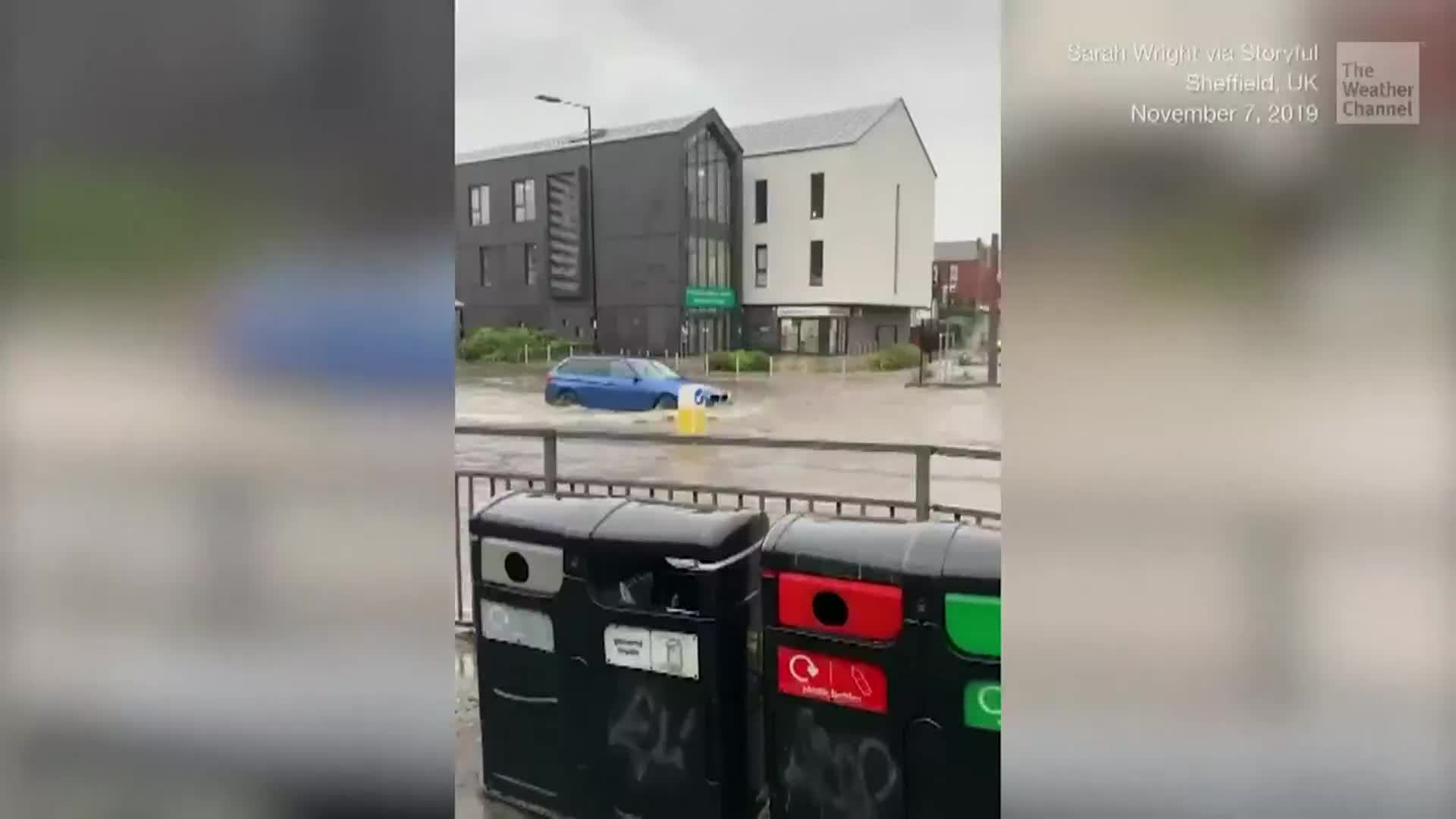 Heavy rain also caused a river to burst its banks forcing evacuations.