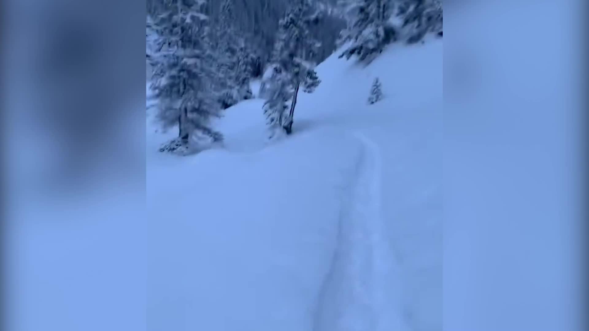 Una avalancha cae mientras un hombre se ejercitaba en Lake Louise, en las montañas rocosas de Alberta, Canadá.