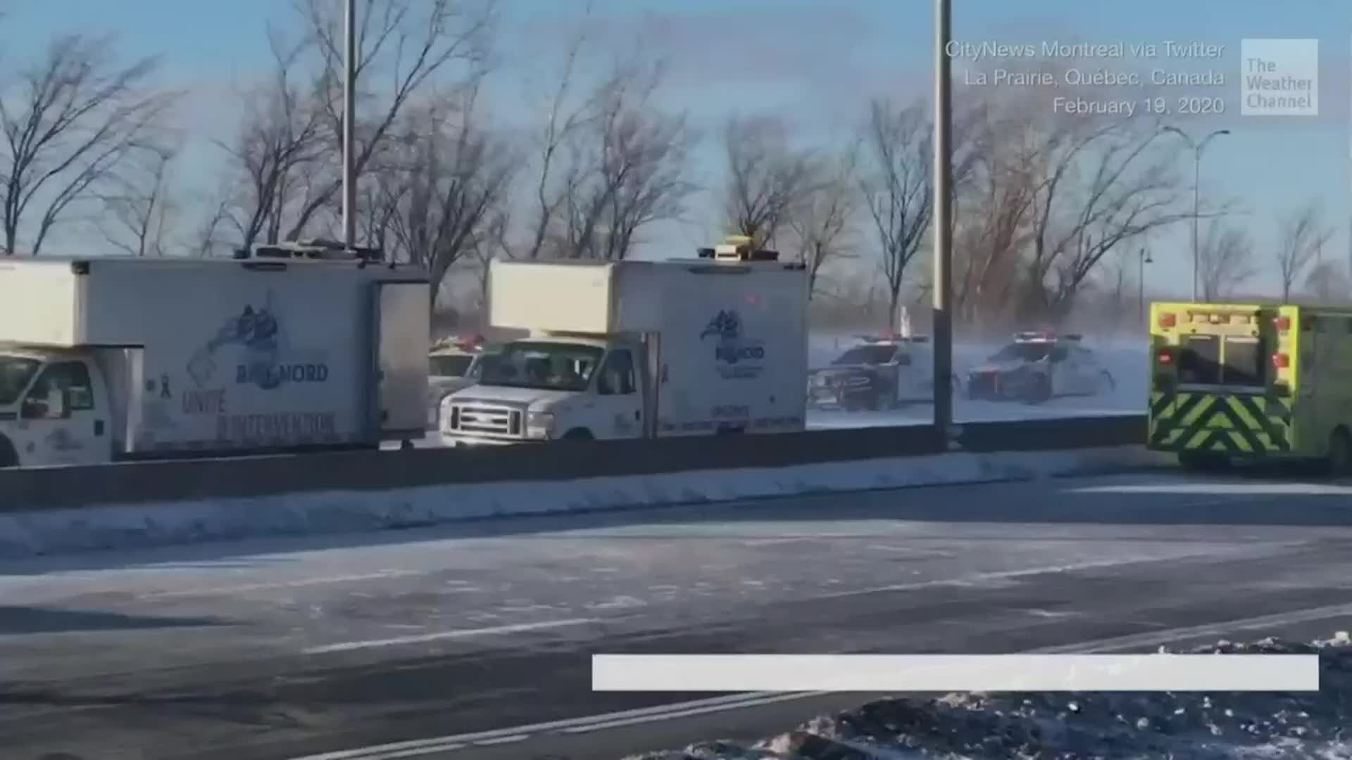 Meteorologist Danielle Banks says almost 200 vehicles were caught in a massive pileup in Montreal. At least 2 people have died and more than 65 were injured in Wednesday afternoon's accident.