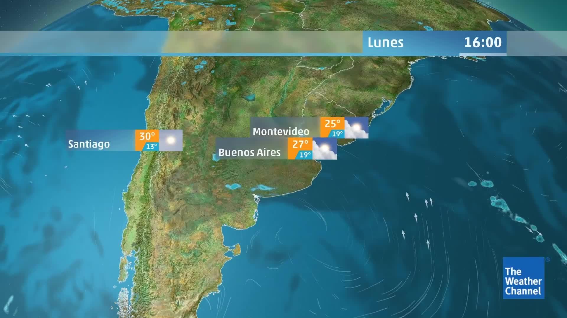 Un frente frío de movimiento lento empujará hacia el norte a través del centro y el norte del país; pero las temperaturas seguirán siendo muy altas en el noreste de Argentina, Paraguay y el sur de Brasil hasta el martes.