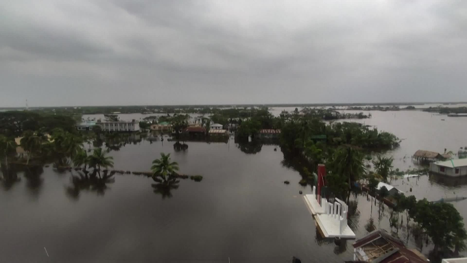 Entire villages are still submerged more than a week after a powerful cyclone ravaged parts of Indian and Bangladesh.