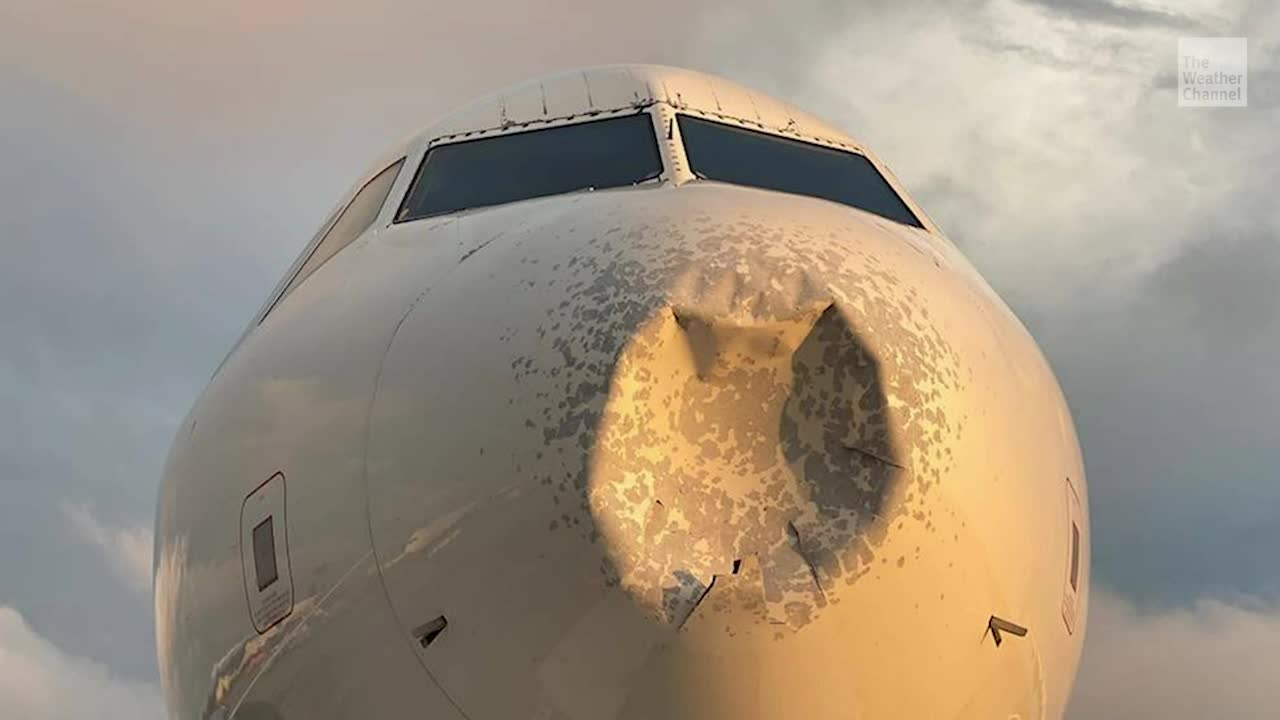 Flight Diverted After Damaged by Hail - Videos from The Weather Channel   weather.com