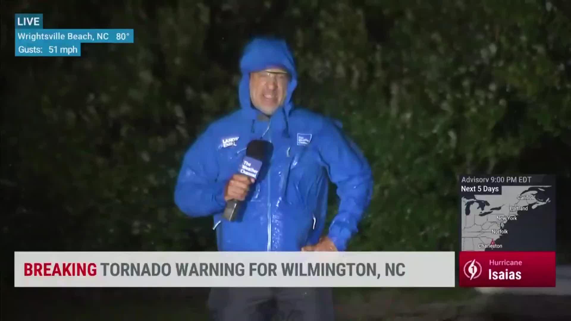 Jim Cantore in North Carolina as Hurricane Isaias Gets Closer to Landfall