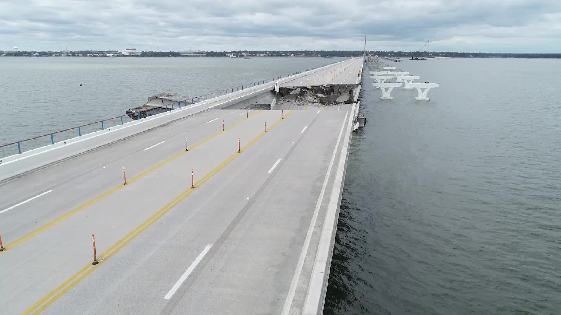 Drone Footage of Pensacola Bay Bridge Shows Extensive Damage After Hurricane Sally - Videos from The Weather Channel | weather.com
