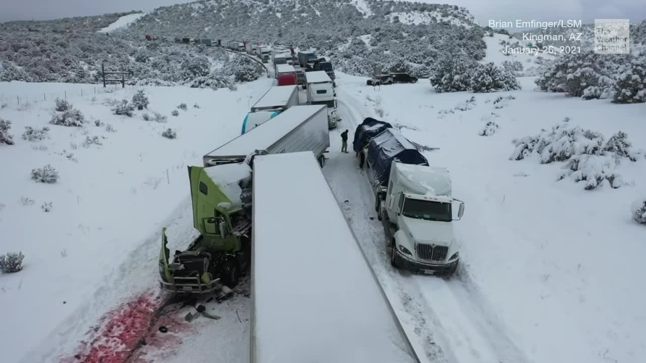 Arizona Highway Closed From Multi-Vehicle Accident in Snow - Videos from The Weather Channel | weather.com