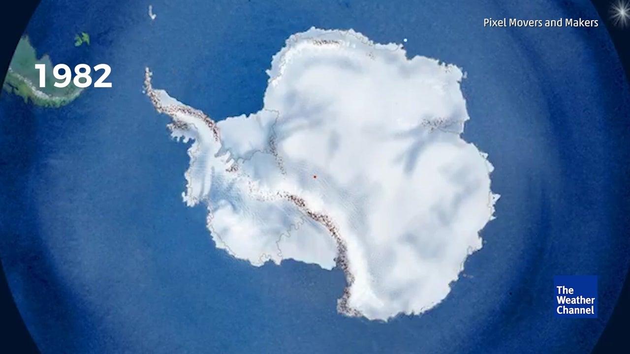 40 anos de degelo de icebergues em menos de um minuto