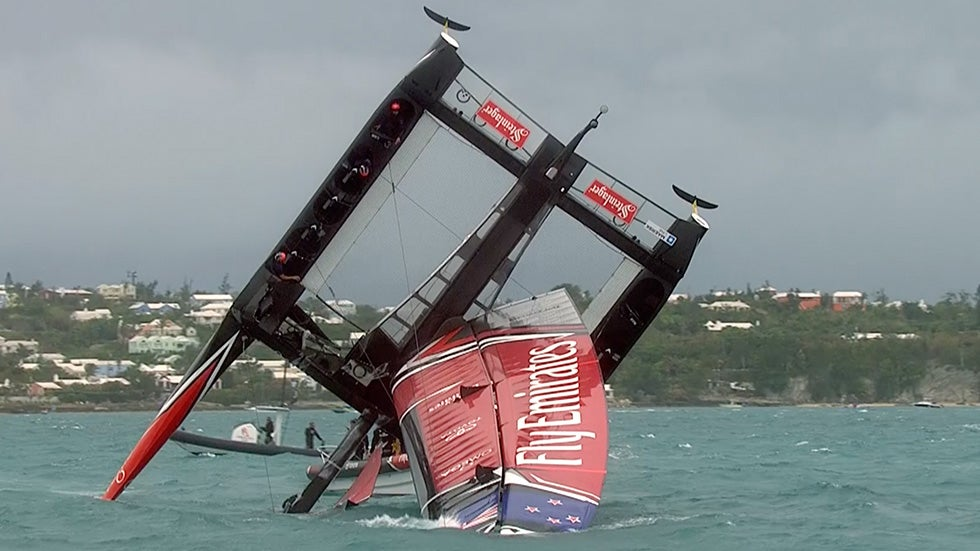 Sailboat Tips Over at America's Cup