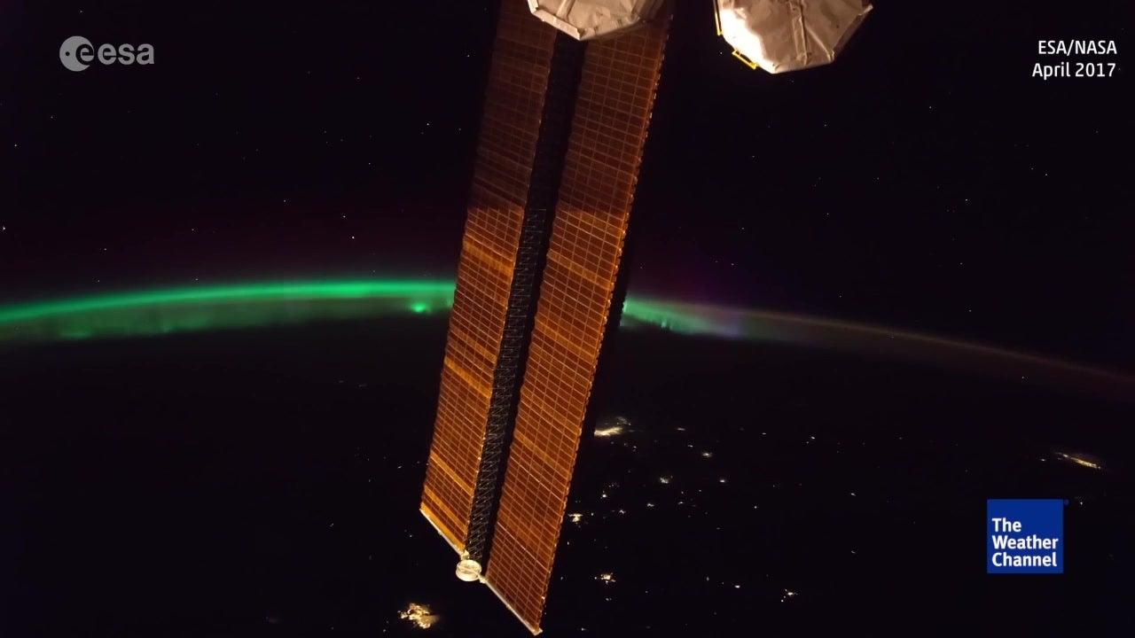 Increíble aurora boreal desde la ISS