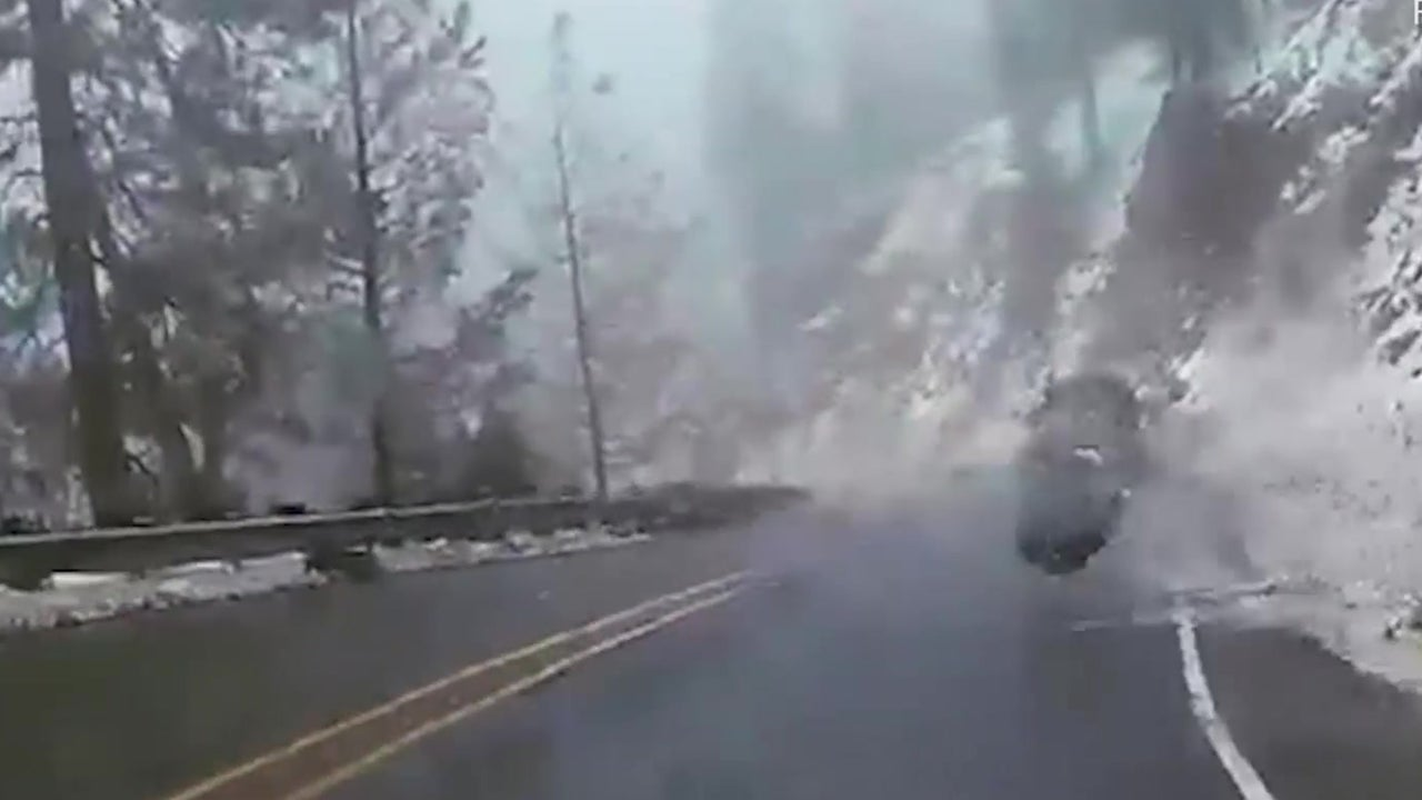 Plummeting Boulder Crashes Near Car