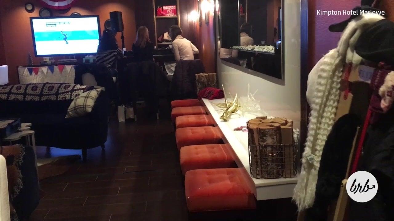Cambridge Bar Transforms Itself Into Ski Lodge for Winter Games
