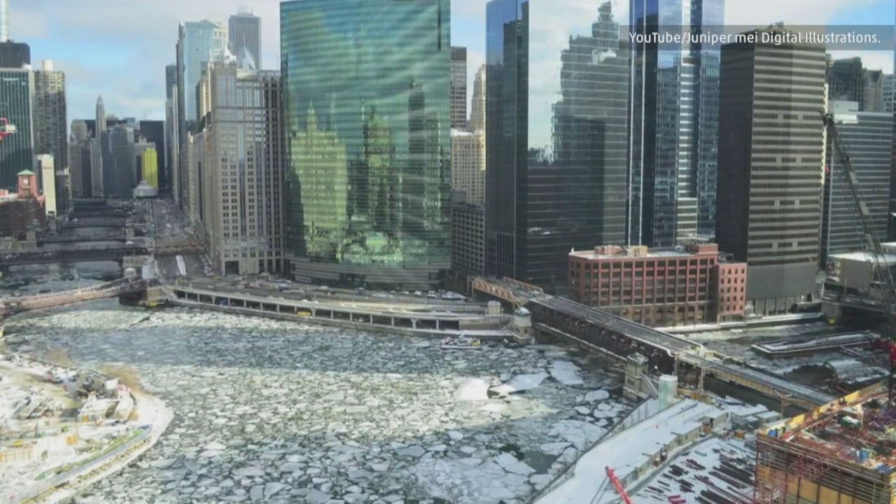 icy waters of chicago river in illinois highlighted in