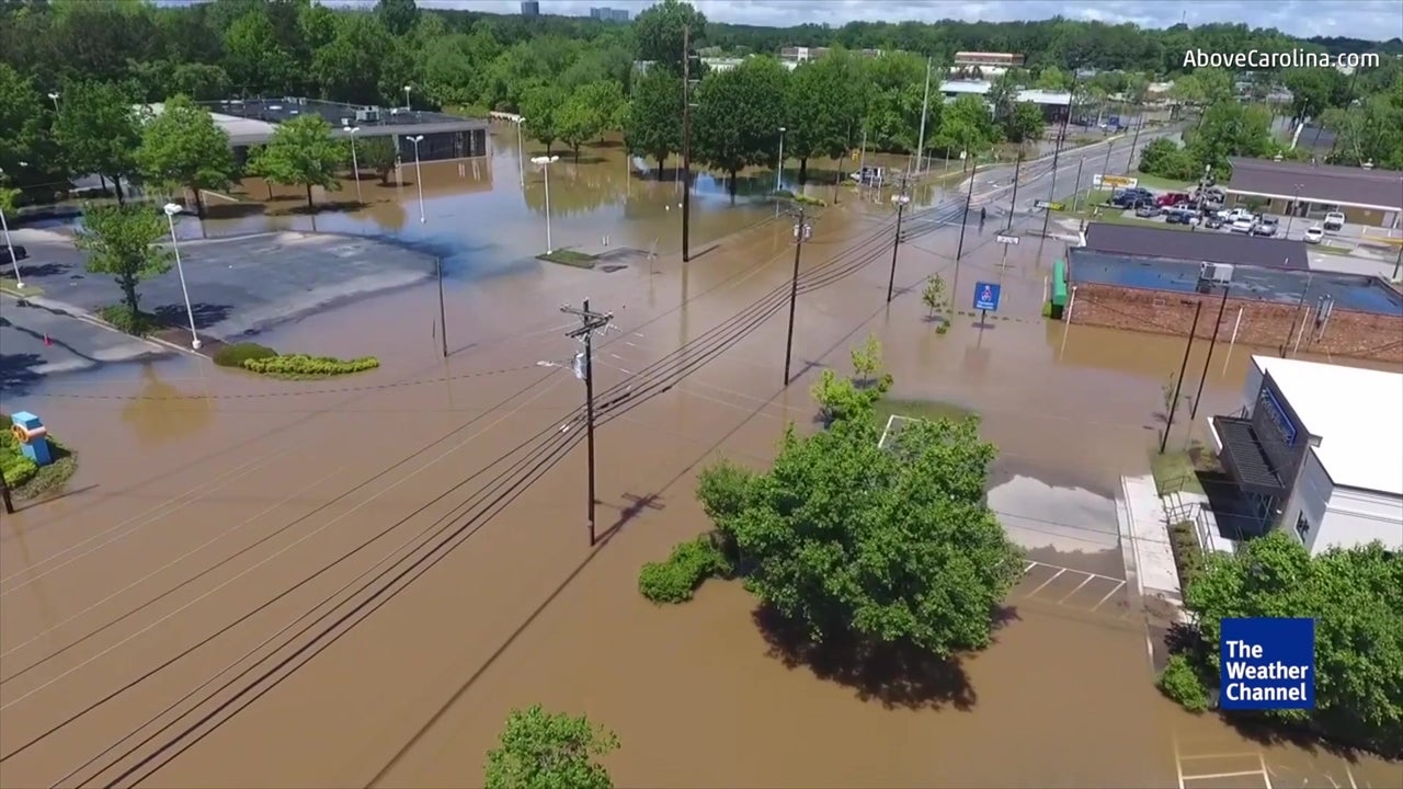 nc flood damage revealed in drone video