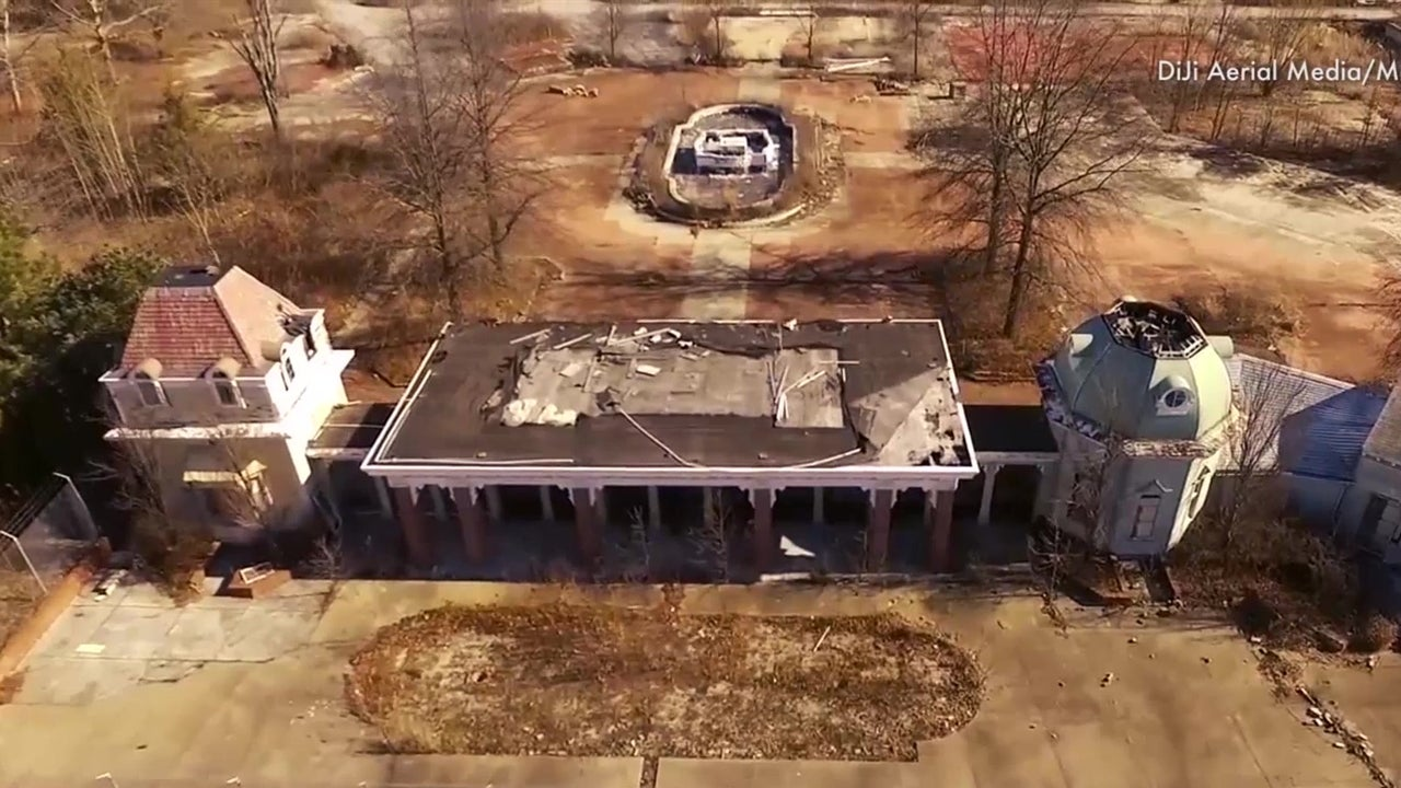 Eerie drone view of abandoned theme park