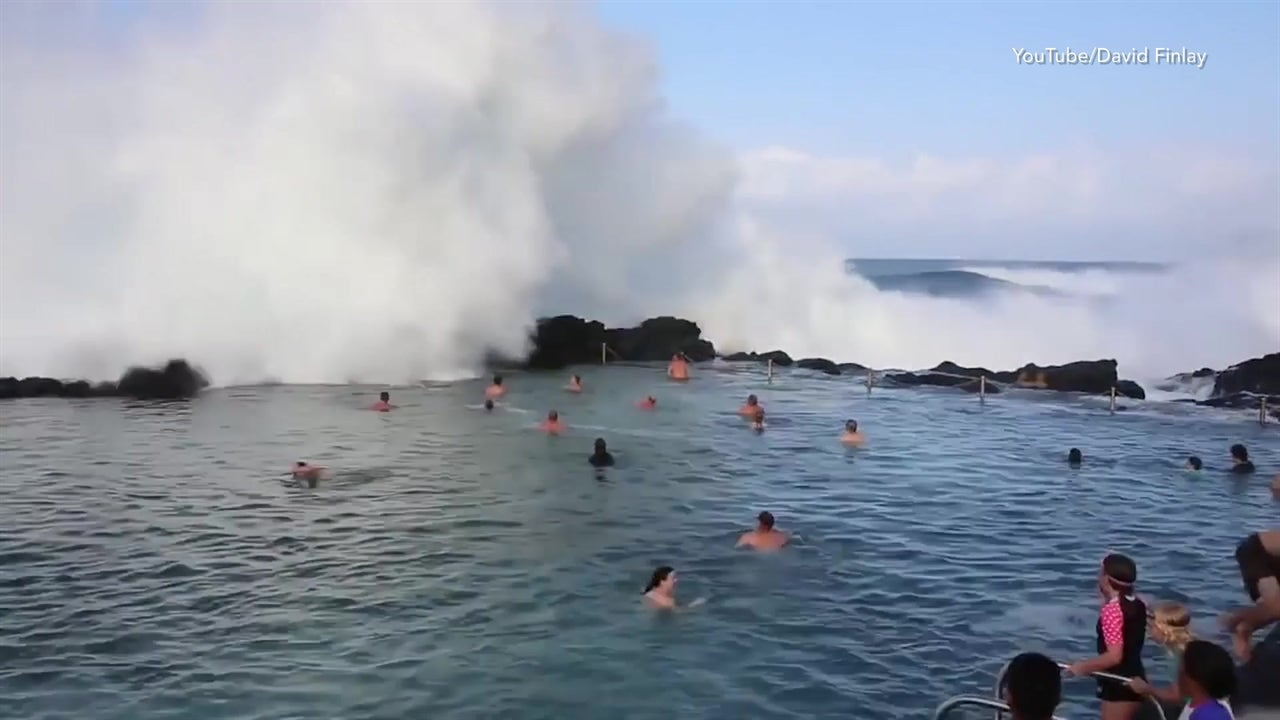 Mega Waves Crash Over Surprised Swimmers