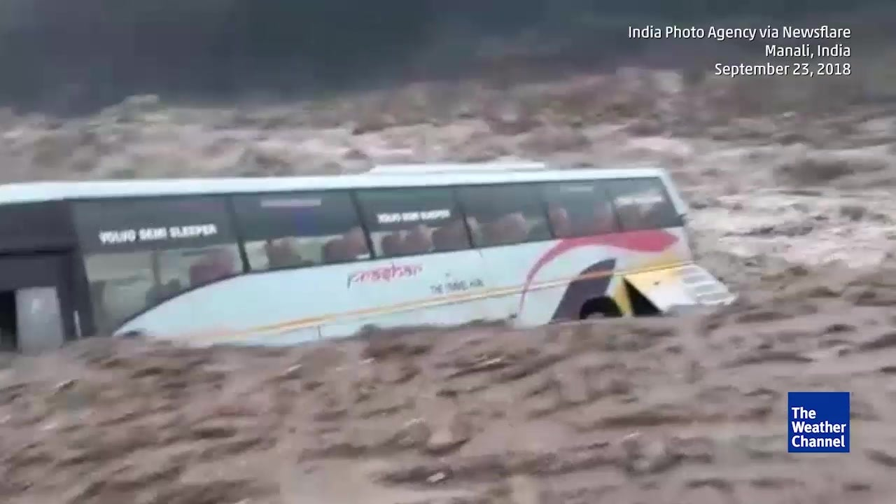 Bus Swept Away by Surging River in Himachal Pradesh