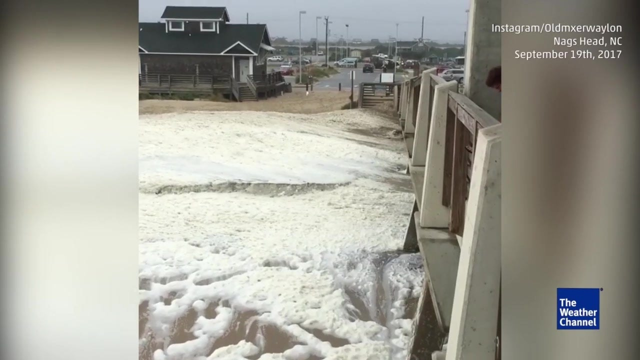 Espuma en las olas de North Carolina