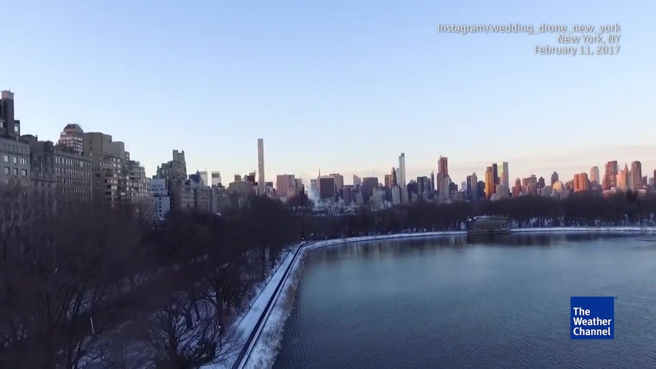 drone footage shows nyc at sunrise