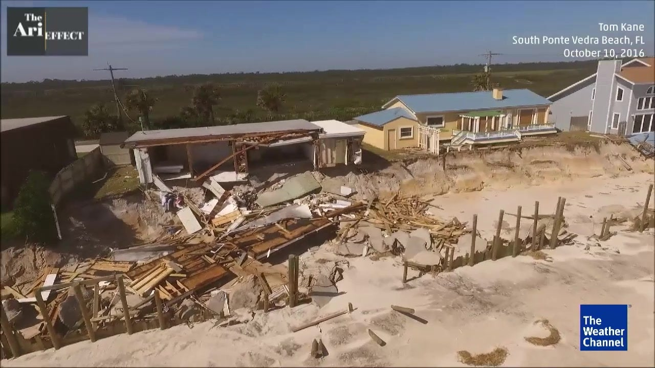 beach damage from matthew from above
