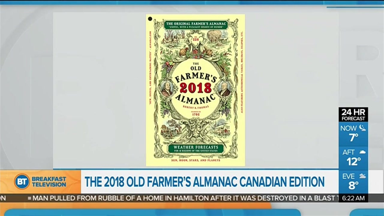 Prediction for 2018 from Farmer's Almanac