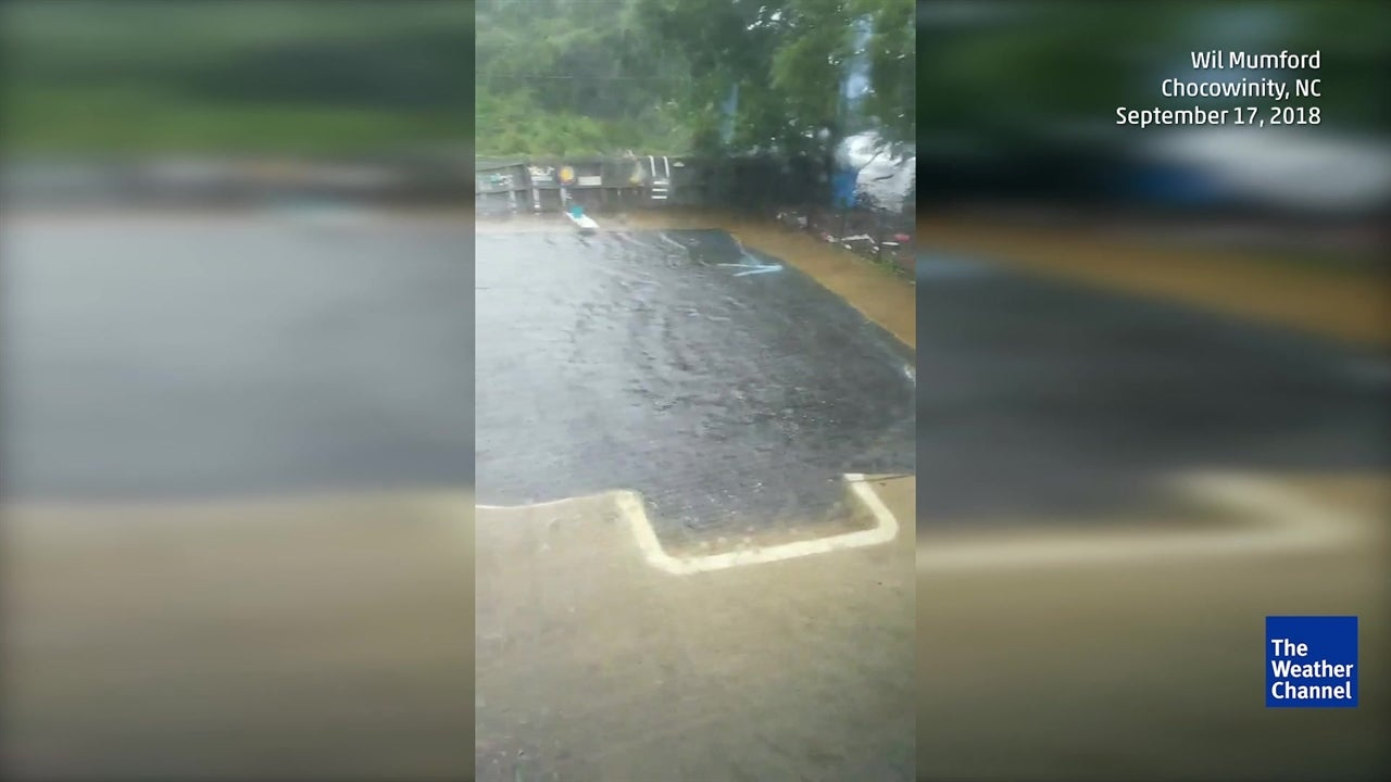 Florence Floods Backyard Pool in North Carolina