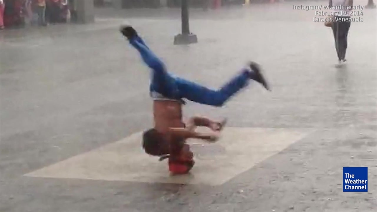 Watch: Breakdancers aren't stopped by storm