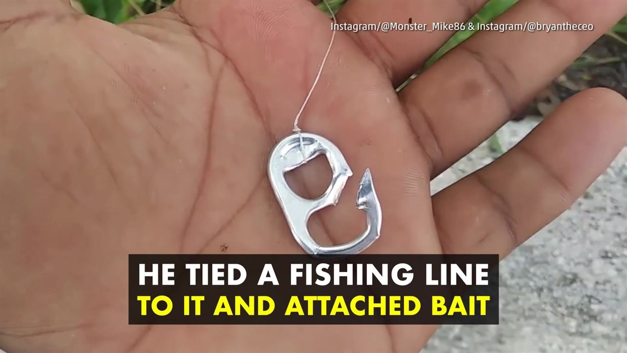 Fisherman uses soda can tab to make a hook