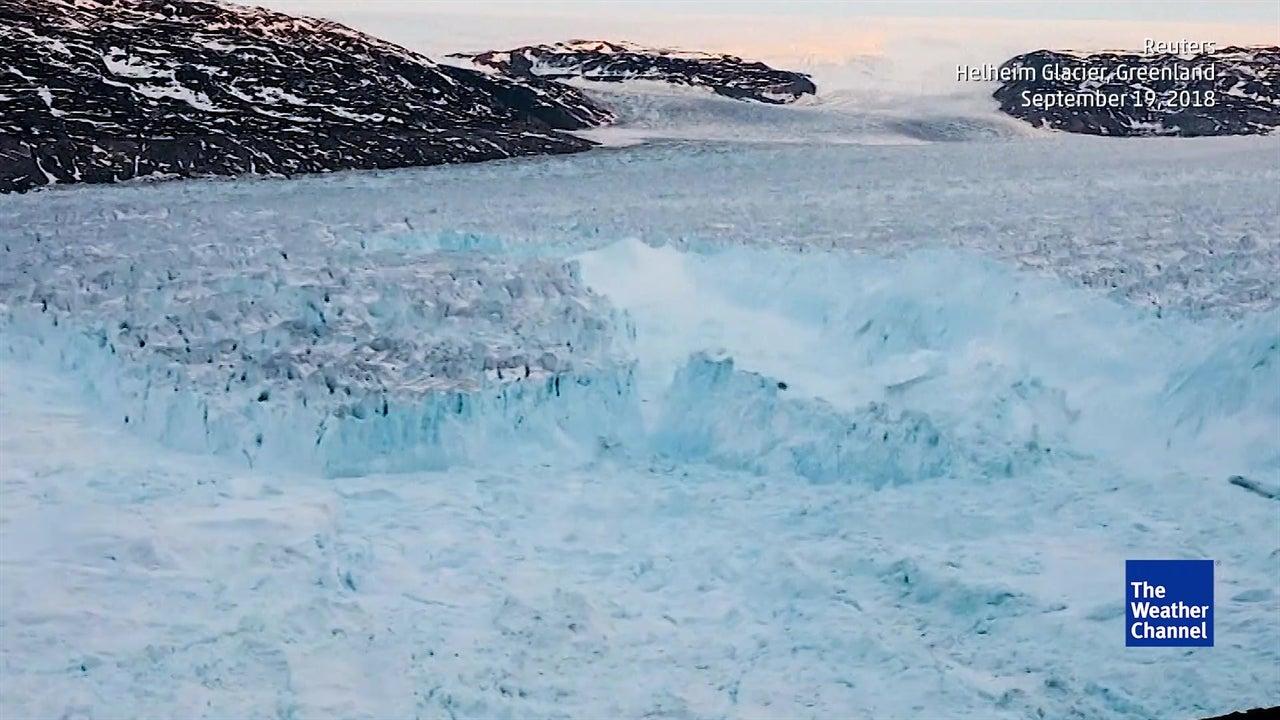 Massive iceberg breaks off from Greenland's Helheim glacier