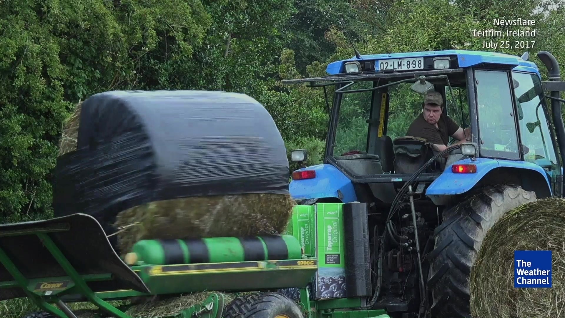 Bale Wrapping Machine Makes Quick Work of Farm Chore