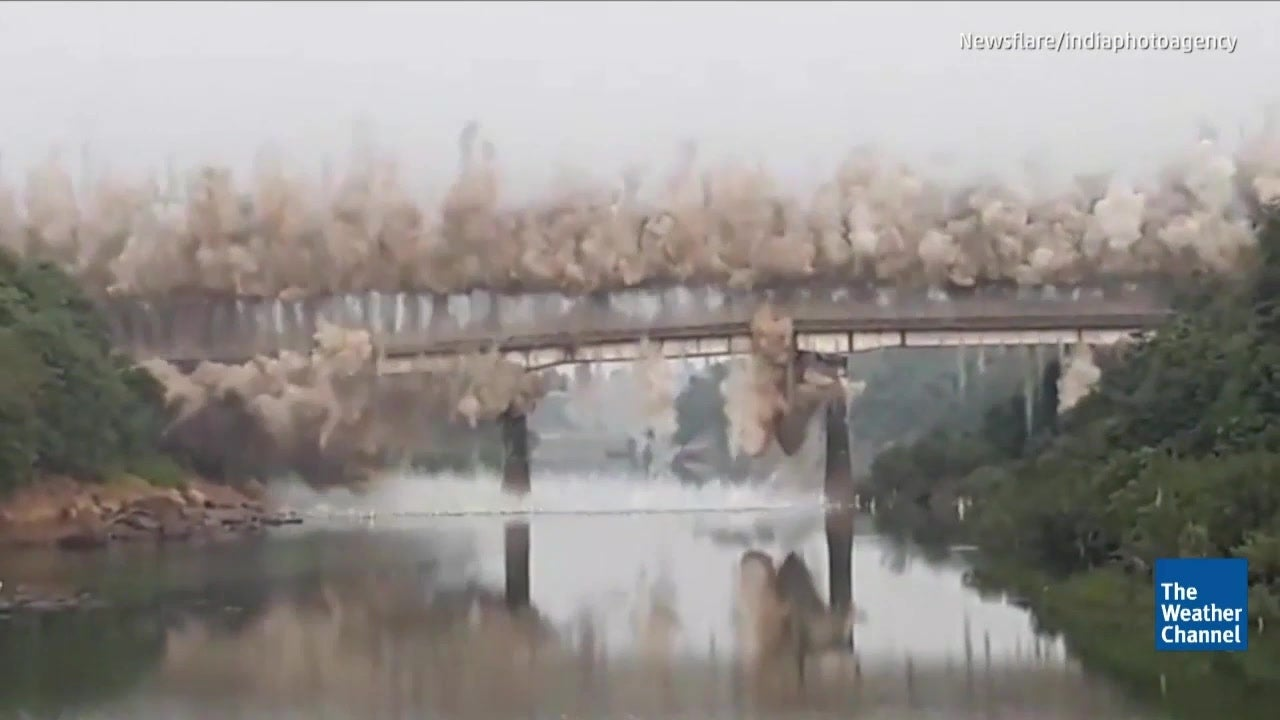 Watch: Colonial-Era Bridge Implodes in India