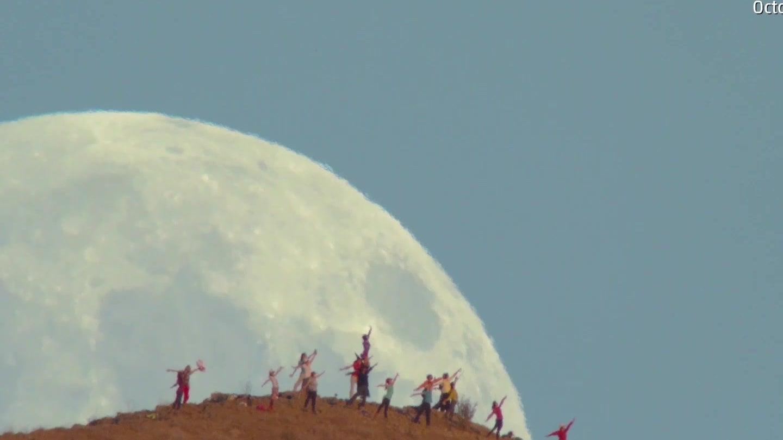Spektakulärer Mondaufgang über Naturreservat bei Fremont