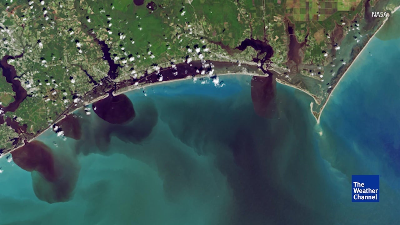 NASA footage shows North Carolina floodwaters polluting the Atlantic
