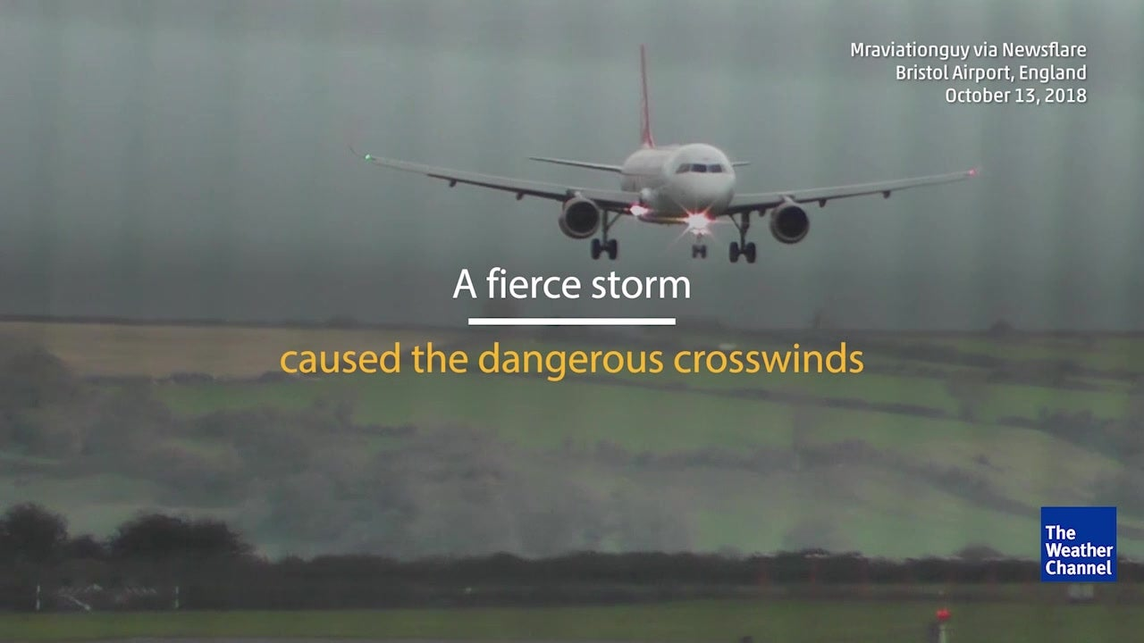 WATCH: Plane lands sideways in windy conditions