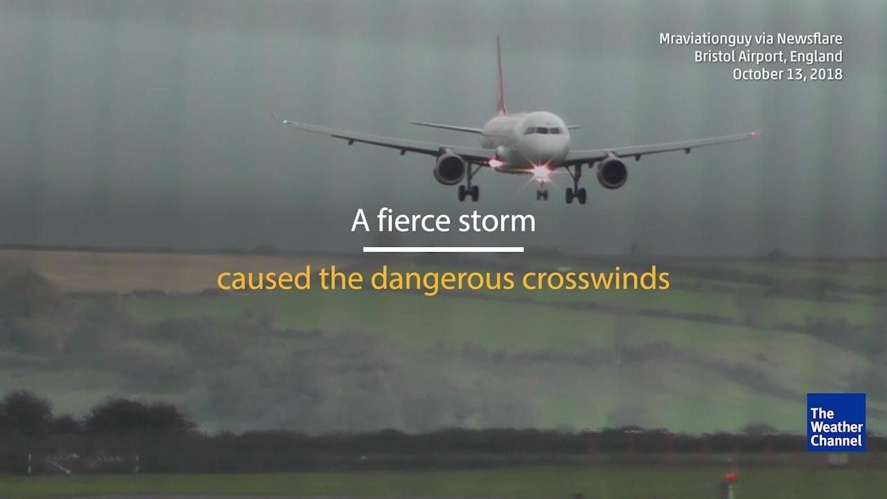 WATCH: Plane lands sideways in windy conditions