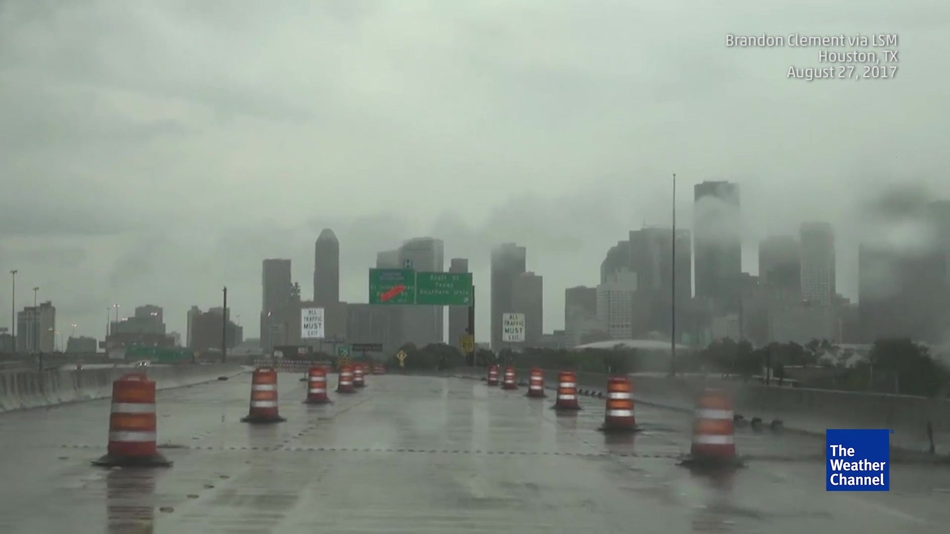 dangerous road conditions in flooded houston