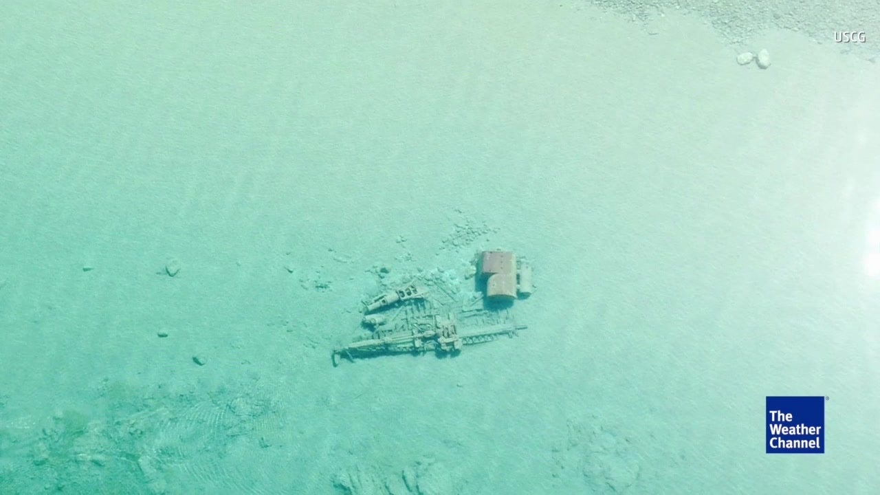 Watch: Shipwreck visible in crystal clear lake