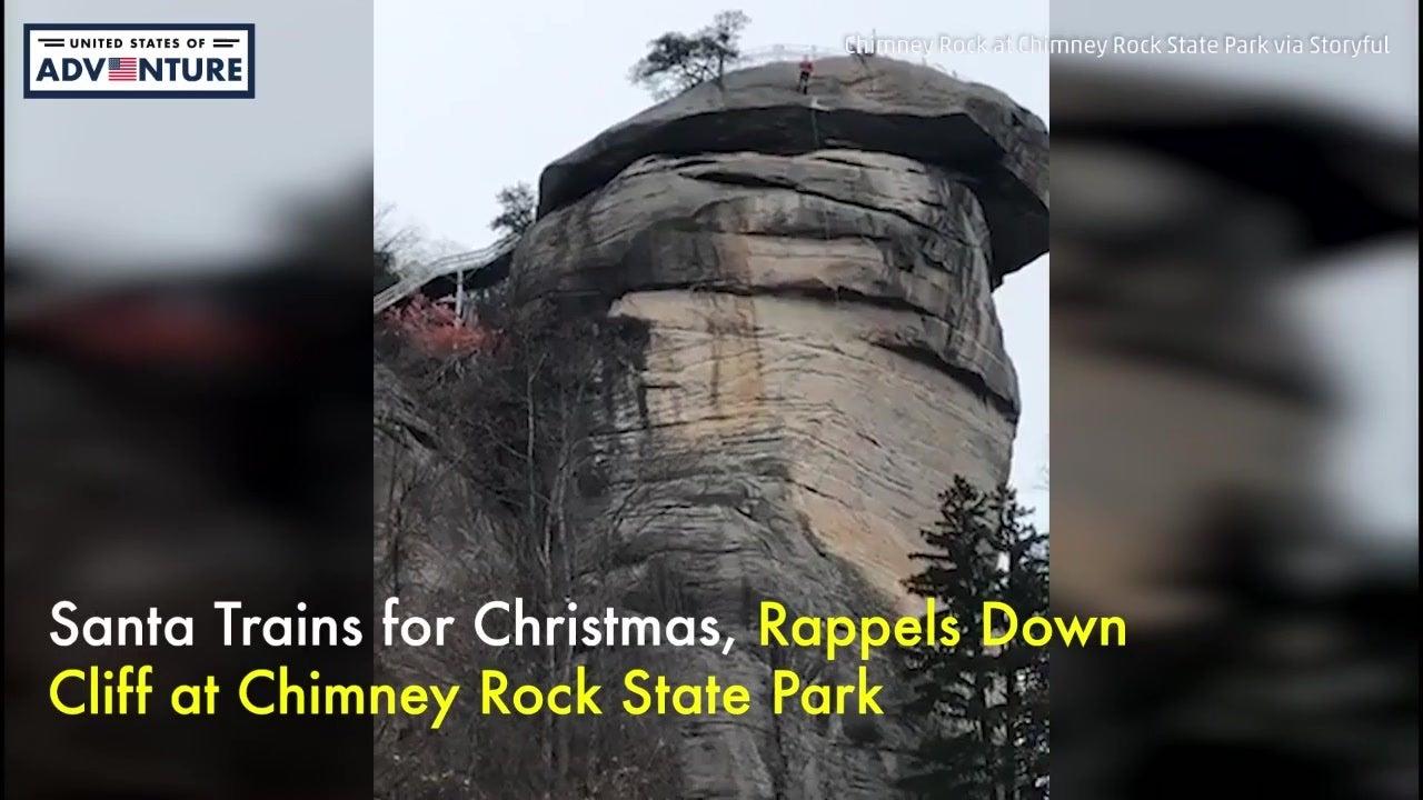 Santa Rappels Down Cliff
